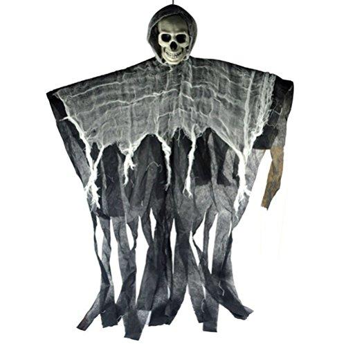 (TOYMYTOY Hängender Geist | Sensenmann 100cm - Halloween Dekoration, schwimmende realistische Schädel, Spukhaus Prop Decor)