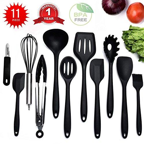 11 Stücke Silikon Küchenutensilien Küchenhelfer-Kochen Zange,Schäler,Spaghettiheber,Silikon...