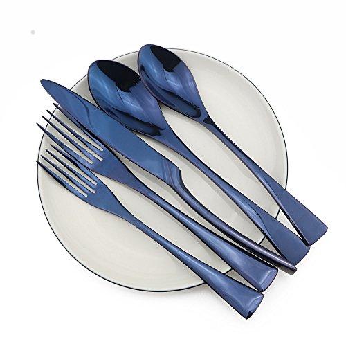 briiec 20Teile Blau Edelstahl Besteck Besteck Set, Service für 4, Spiegel poliert, Messer/Gabel/Löffel, Spülmaschinenfest 20 Pcs Set Pc Edelstahl-besteck-set
