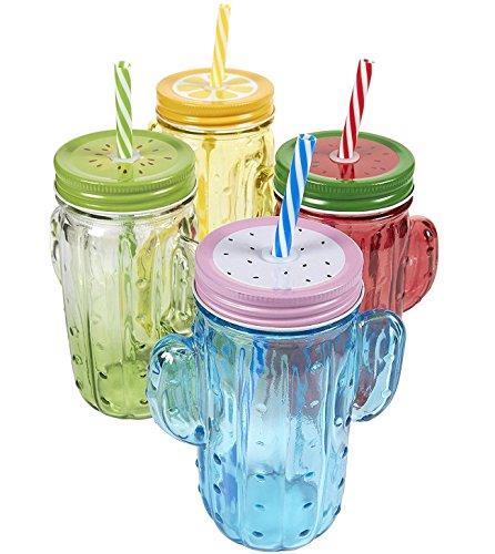 4er Pack Mason Gläser-Colorful Mason Jar Set mit Deckel und Kunststoff Trinkhalme, Glas, Verschiedene Farben, 14x 11,4x 7cm.