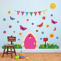 ufengke Fairy Door Wall Stickers Butterflies Grass Vinyl Wall Art Decals for Girls Bedroom Nursery