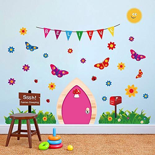 ufengke Pegatinas de Pared Puerta de Hadas Vinilos Adhesivos Pared Mariposas Hierba Decorativos para Dormitorio Habitación Infantiles Niñas