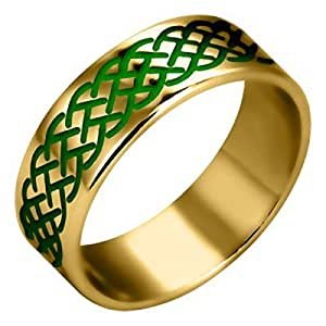 Brass Ring, Green Enamel Celtic Knot, Symbol of Eternal Life - 5