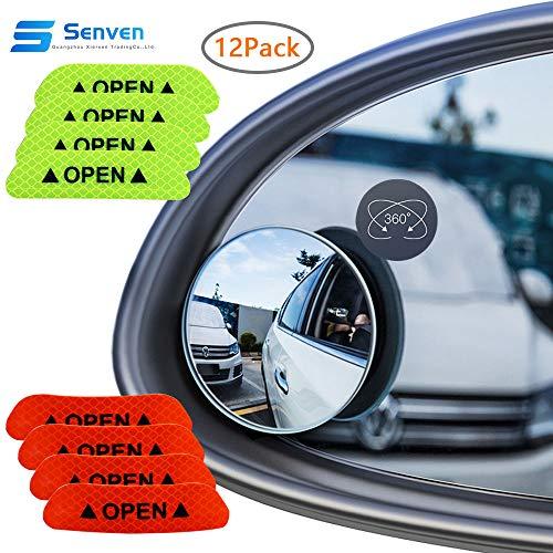 Senven Toter Winkelspiegel (4Pcs) + reflektierender Aufkleber (8Pcs), wasserdicht, um 360° drehbarer konvexer Rückspiegel für Allzweckfahrzeuge, runder Weitwinkelspiegel aus HD-Glas - 12er Pack