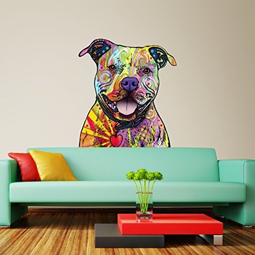 My Wonderful Walls Animal Pop Art by Dean Russo Beware of Pit Bulls Wall Sticker Cut Out, 39.2 by 45-Inch, Multicolored by My Wonderful Walls