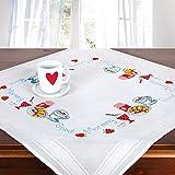 Stickpackung Good Morning, komplettes vorgezeichnetes Kreuzstich Tischdecken Set zum Sticken, Stickset mit Stickvorlage
