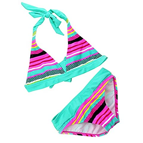 Bikini Kinder Mädchen 2tlg Neckholder Bunte Bikini Tankini Set Baby Schwimmanzug Badeanzug Bademode (122CM-128CM(Etikett 128),