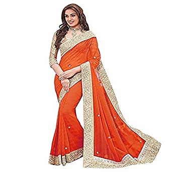 RTHub Women's Georgette With Blouse Saree (Mif61_Orange)