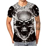 OHQ Mens Skull 3D Druck T-Shirt Kurzarm T-Shirt Bluse Tops 3D Herren Schädel Digital Printed Rundhals T-Shirt Top (Schwarz, 2XL)
