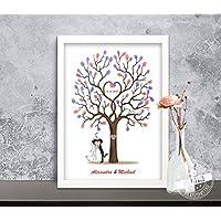 Fingerabdr/ücke Luftballone Hochzeitsauto Cabrio Wedding-Tree Leinwand zur Hochzeit G/ästebuch