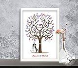 Hochzeitsbaum Fingerabdrücke, Gästebuch-Alternative zur Hochzeit, Leinwand, Papier, individuell