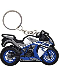 GCT KTM RC8 Logo Synthetic/Rubber Bike Keychain/Keyring/Key Ring/Key Chain (Blue/White/Black)