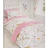 Kidz Club Pferde Tiere Mädchen Quilt Bettbezug und 2Kissenbezüge Betten Set, Pink, Double