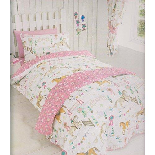Kidz Club Pferde Tiere Mädchen Quilt Bettbezug und 2Kissenbezüge Betten Set, Pink, Double (Mädchen Kidz)