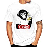 Sunday77 Mens T Shirt, Men Summer Casual Short Sleeve Tops Fashion Plus Size Monkey Banana Printed Tank Blouse Sport Gym Tee Shirt for Men (L, White)