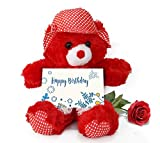 #3: TiedRibbons® Teddy Bear with Artificial Rose and Greeting Card | birthday gift box | birthday gift girlfriend love | birthday gift hampers for men | birthday gift husband