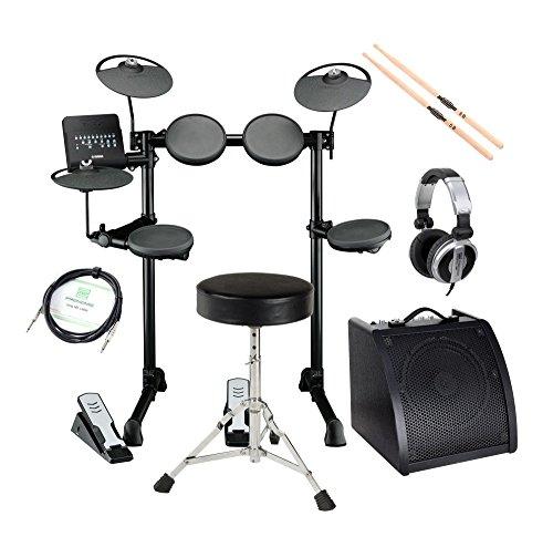 "Yamaha DTX400K Compact E-Drum Set (Kompaktes E-Drum Set, Drum Trigger Modul, 10"" Cymbal-/ HiHat-Pads, 7,5"" Drum-Pads, inkl. Rack, Verstärker, Kopfhörer, Drumhocker, Kabel, Sticks) Schwarz"
