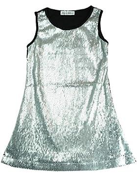 niña lentejuelas DELANTERO Metálico Brillo Fiesta Disco Vestido sin mangas tallas desde 3 to 12 años