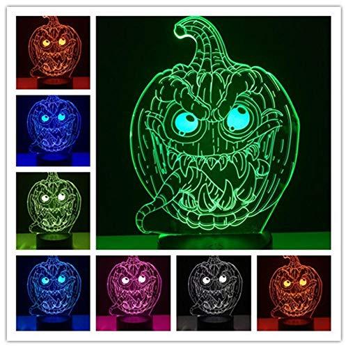 Zcmzcm 3D Nachtlichter 3D Halloween Kürbis Dekoration Led Licht 7 Farbwechsel Usb Touch Tisch Schlaf Nachtlichter Wohnzimmer Geschenk