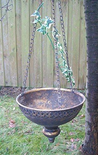 Hängeampel, Blumenampel, Pflanztop Übertopf an Kette, Eisen gold antik