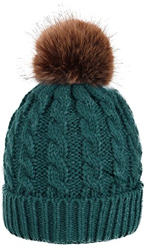 Hand Knit Visor Beanie (Simplicity Men / Women's Winter Hand Knit Faux Fur Pompoms Beanie Hat, Green)