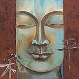 Artland Original Ölgemälde Unikat auf Leinwand von Hand gemalt auf Holz-Rahmen gespannt Ellen F. Dankbarkeit Fantasy & Mythologie Religion Buddhismus Malerei Türkis 80 x 80 x 2,8 cm A0RP