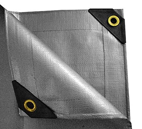 10 X 12 HEAVY DUTY TRIPLE COATED LAMINATION BLACK YARN WEAVE (WOVEN VERTICALLY & HORIZONTAL) PREMIUM SILVER CANOPY TARP WITH BRASS PLATED GROMMETS by DPCI