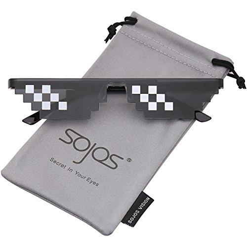 SOJOS Thug Life Sonnebrille Neuheit Mosaik Spaß machen UV 400 Schützen SJ2049 mit Mosaik Schwarz Klein Rahmen
