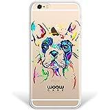 Funda iPhone 6 Plus | 6S Plus, WoowCase® [Hybrid] Perro Bulldog Francés Dibujos Animales Multicolor Case Carcasa [iPhone 6 Plus | 6S Plus] Rígida fabricada en Policarbonato y bordes de TPU Silicona híbrida - Transparente