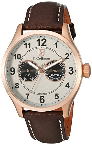 S.Coifman Men's Quartz Watch with Grey Dial Analogue Display and Brown Leather Strap SC0318