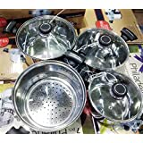 Super Handy & Exclusive 7 Pcs Induction Friendly Stainless Steel Cookware Set With Steamer & Bake Lite Handle For A Rasoi Makeover