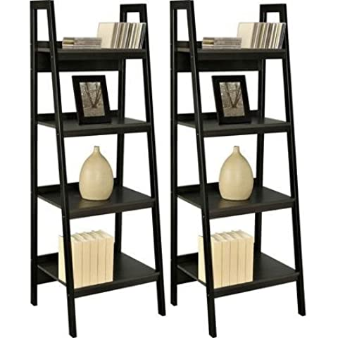Sturdy 4-tier Metal Ladder Bookcase, Set of 2, in Black Finish - Easy Assembly, Hardware Included in Package by