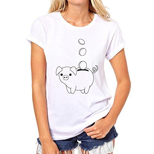Pig Animal Farm Hog Money Coins Damen T-Shirt Weiß