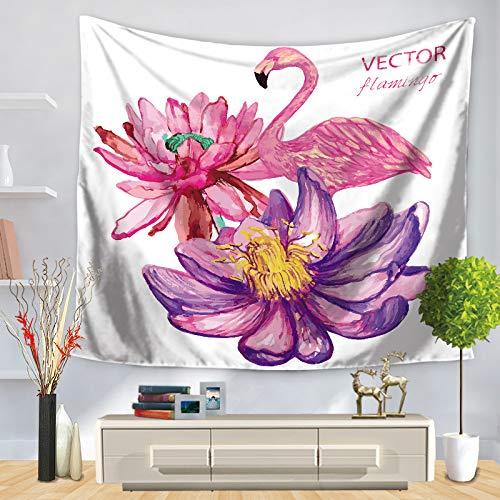 jzxjzx Tapisserie Flamingo gestreiften Blumendruck Wandbehang Dekoration 6 150 * 130 -