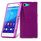 Cadorabo DE-105115 Sony Xperia Z3 COMPACT Handyhülle aus TPU Silikon in gebürsteter Edelstahloptik (Brushed) Pink