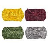 DRESHOW 4 Pezzi Crochet Turbante Fascia Capelli Tessuto di Lana Fascia da Donna Invernale Accessori per Capelli Caldo Headwrap