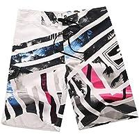 Pantalones Cortos de Playa, Pantalones Cortos de Surf Hawaianos Ocasionales, Pantalones Cortos de Verano para Hombres, Good dress, Blanco, 32