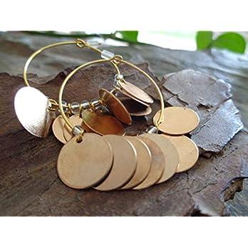 ✿ GOLDENE PLÄTTCHEN CREOLEN ✿ OHRRINGE RUNDE HAKEN, Glasperlchen