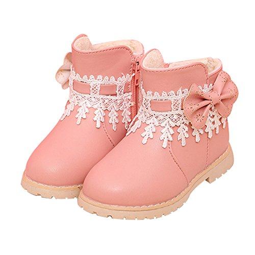 Rosa Winter-schnee-stiefel (Taiycyxgan Baby Mädchen Schnee Schuhe Mädchen Princes Spitze Blumen Schleife Stiefel Winter Warm Boot Schwarz Rot)