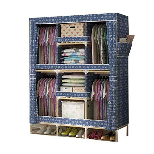 Armadi pieghevolier yhz@ armadio semplice assemblaggio, tutto in legno massello lavabile in tessuto oxford cortina di stoffa (colore : b)