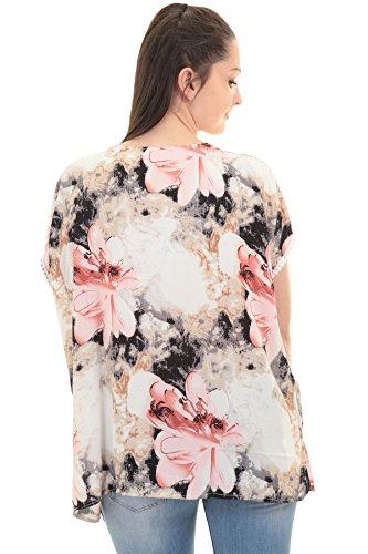 Fantasia Boutique femmes manche chauve-souris lacets Ornement crocheté col V haut bas surdimensionné haut chemisier Impression Florale