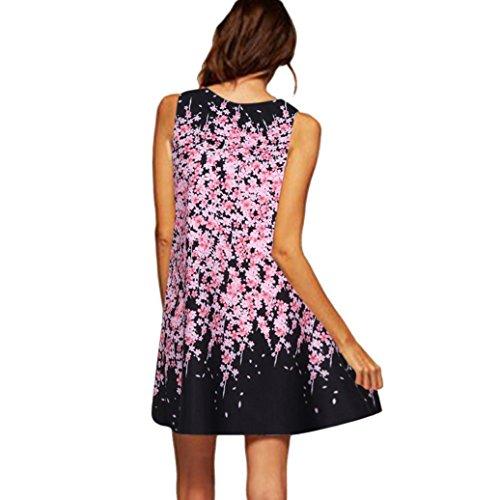 MRULIC Damen Mini A-Linie Kleider Chinesisches Klassisches Kleid mit Rosen und Pflaumenblüten(H-Schwarz,EU-38/CN-S) (Neckholder Gold Mini)