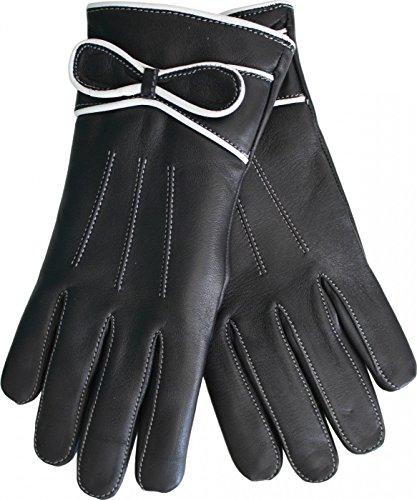 Damen Lederhandschuhe Handschuhe Lammnappa echtleder Lamm-Nappaleder schwarz, Size:9=L