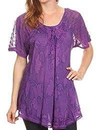 d7549775ba2bc Sakkas Maliky Wide Corset Neck Floral Embroidered Cap Sleeve Blouse Top  Shirt