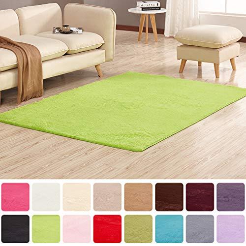 Alfombra de Pelo Corto para salón, Dormitorio, habitación Infantil, Verde, 60 x 120 cm