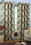 SB HOME DECOR Eyelet Printed Leaf Design Fancy Polyester 1PC Curtain