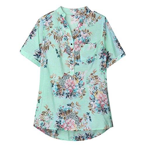 ZANZEA Femme Floral Col V Top T-Shirt Blouse Chemisier Loisir Fleur Imprimé Haut Floral Floral 2