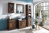 SalesFever Badezimmer-Set lackiert mit Schränken und Spiegel aus Alt-Holz | Rivership | Buntes Badmöbel-Set im Shabby Chic-Look mit starken Gebrauchsspuren 5-teilig