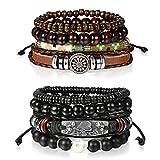 Cupimatch 8pz Wrap bracciali braccialetti in pelle, legno perline bracciali per uomo e donna, 7–27,9cm regolabile