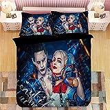 Jnsio 3D Bettwäsche-Set,Bettbezug-Sets Suicide Team Harley Quinn 3-Teilig 100% Mikrofaser (1 Bettbezug + 2 Kissenbezüge) Suicide Squad Mit Harley-Quinn-Muster Für Kinder Erwachsene